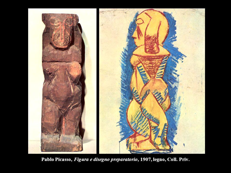 Pablo Picasso, Figura e disegno preparatorio, 1907, legno, Coll. Priv.