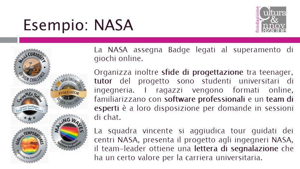 Esempio: NASA La NASA assegna Badge legati al superamento di giochi online.
