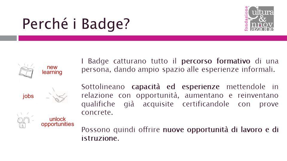 Perché i Badge I Badge catturano tutto il percorso formativo di una persona, dando ampio spazio alle esperienze informali.