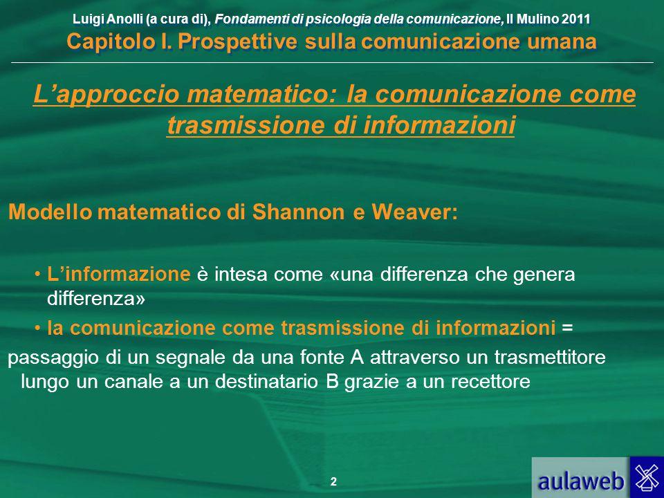L'approccio matematico: la comunicazione come trasmissione di informazioni