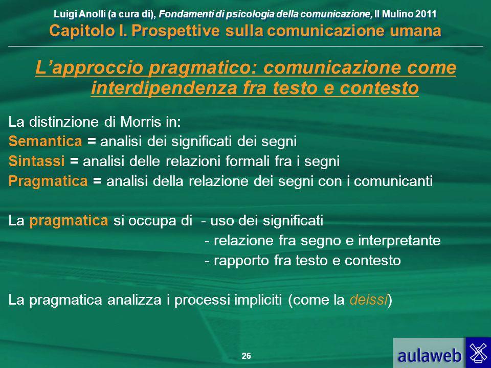 L'approccio pragmatico: comunicazione come interdipendenza fra testo e contesto