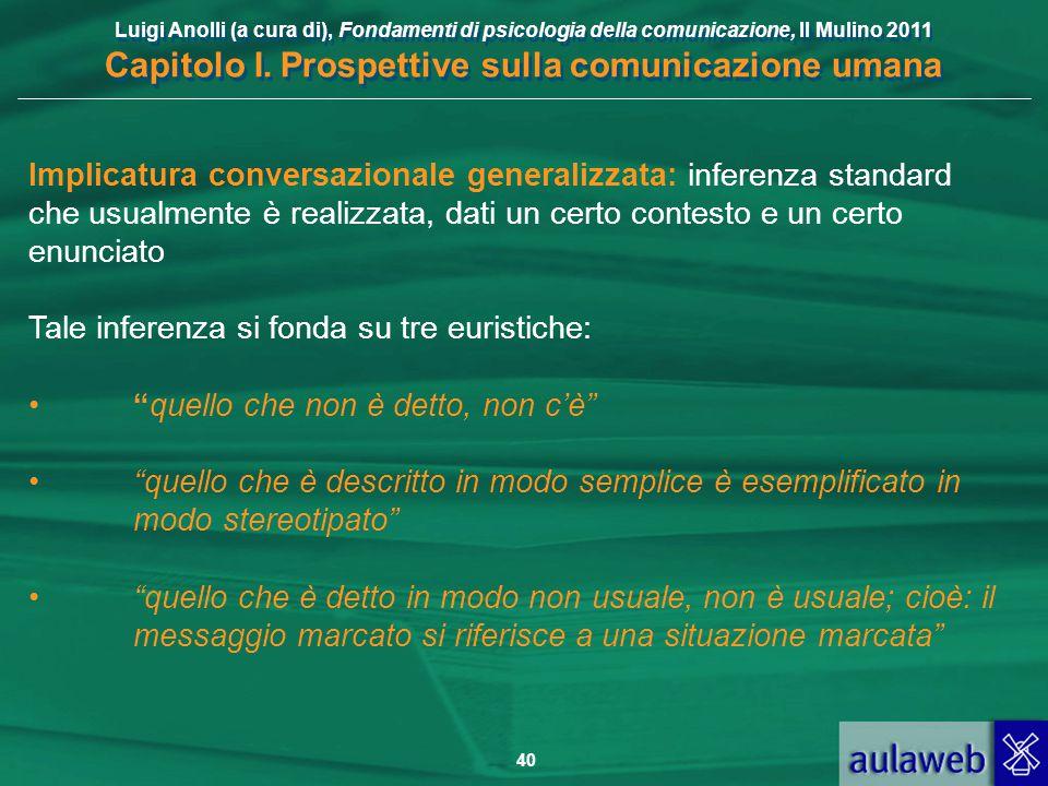 Implicatura conversazionale generalizzata: inferenza standard che usualmente è realizzata, dati un certo contesto e un certo enunciato