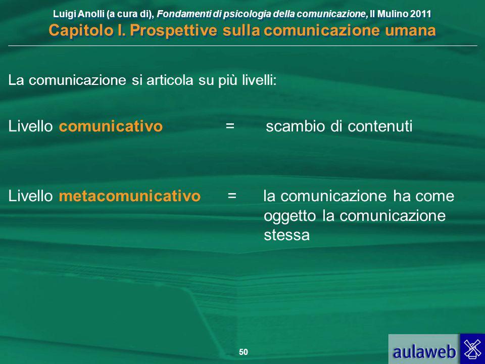 Livello comunicativo = scambio di contenuti