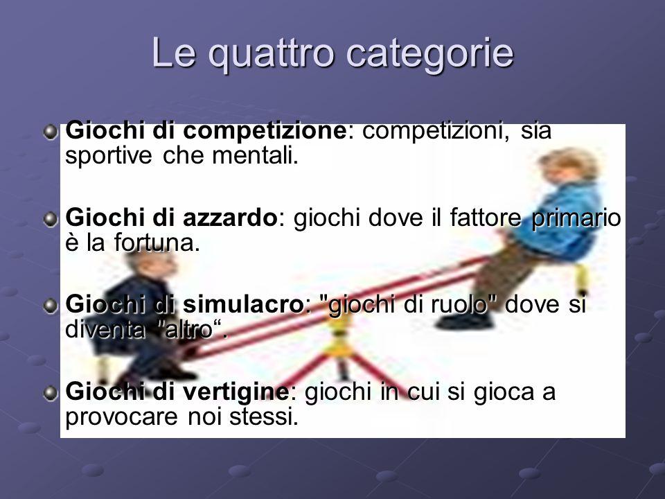 Le quattro categorie Giochi di competizione: competizioni, sia sportive che mentali.