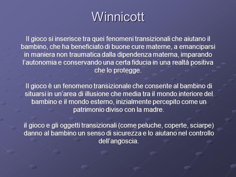 Winnicott Il gioco si inserisce tra quei fenomeni transizionali che aiutano il. bambino, che ha beneficiato di buone cure materne, a emanciparsi.