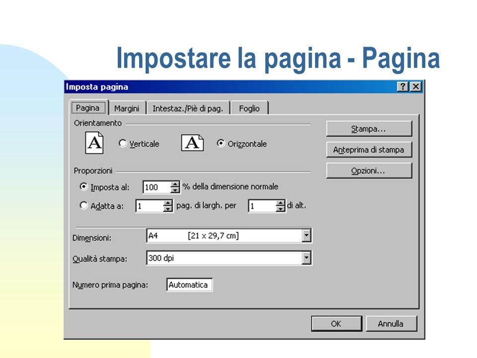 Impostare la pagina - Pagina