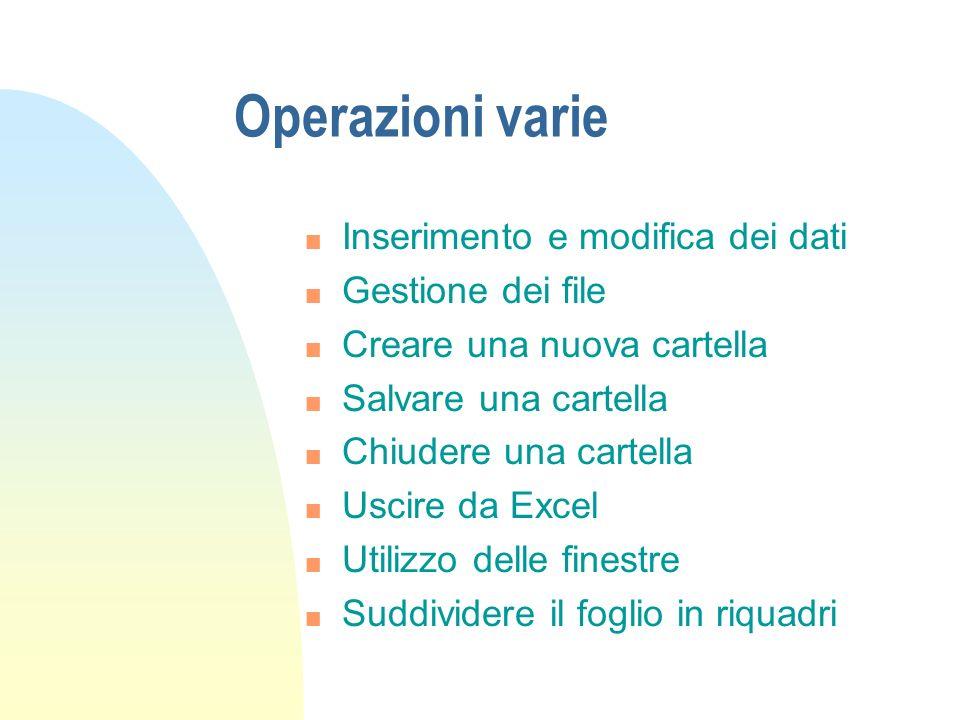 Operazioni varie Inserimento e modifica dei dati Gestione dei file
