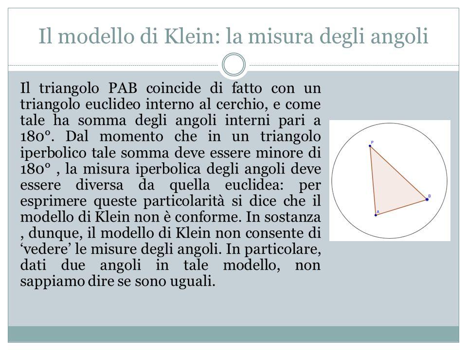 Il modello di Klein: la misura degli angoli