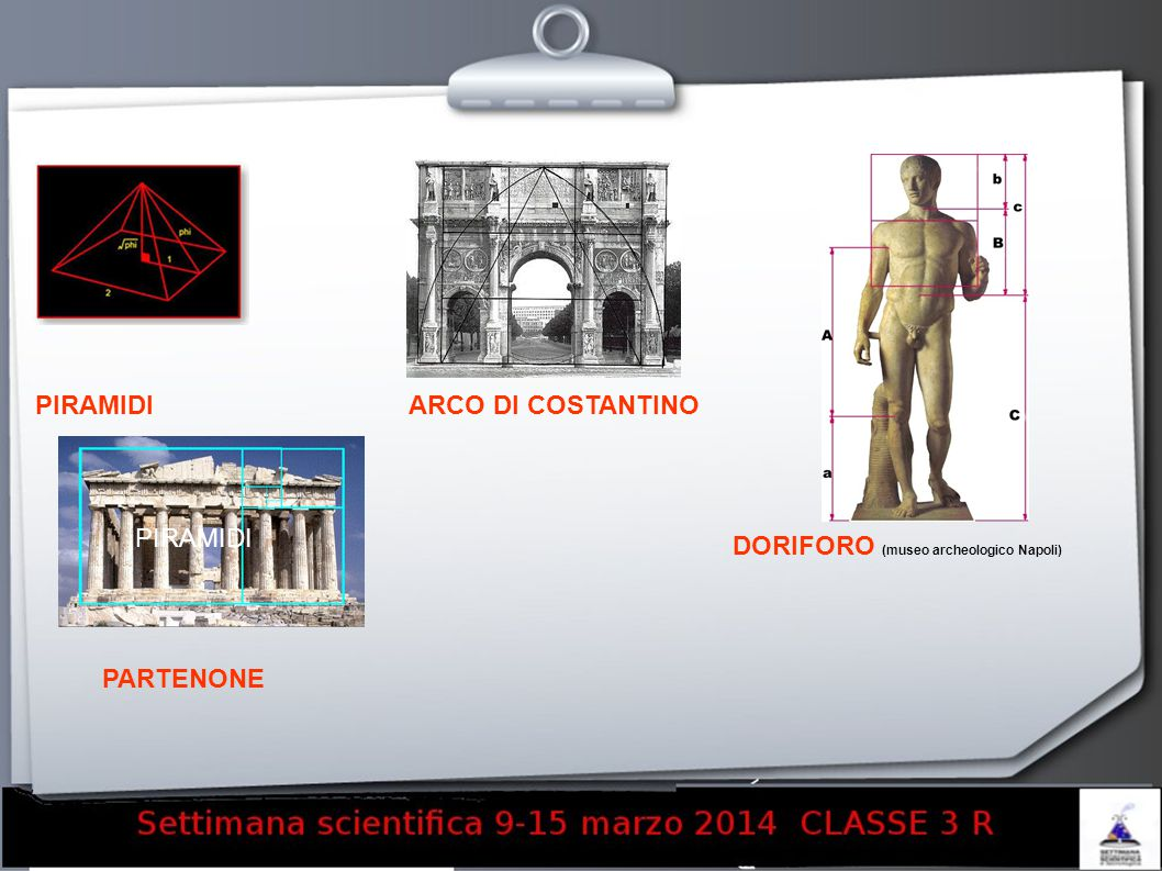 PIRAMIDI ARCO DI COSTANTINO PIRAMIDI DORIFORO (museo archeologico Napoli) PARTENONE