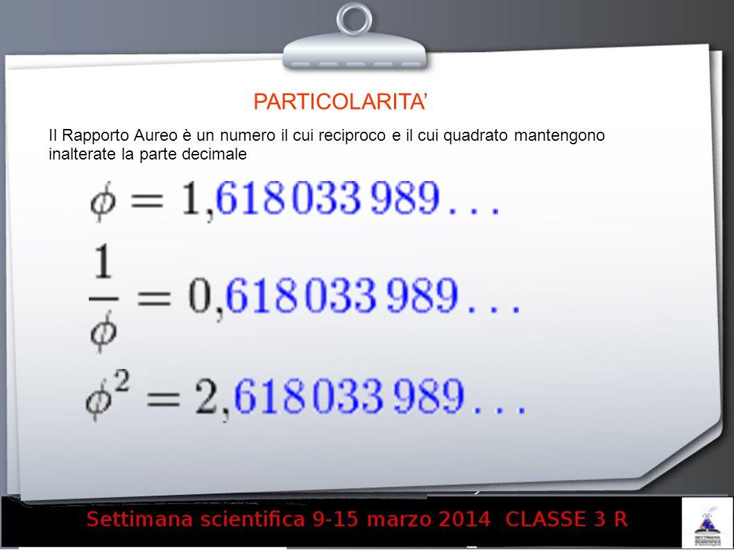 PARTICOLARITA' Il Rapporto Aureo è un numero il cui reciproco e il cui quadrato mantengono inalterate la parte decimale.