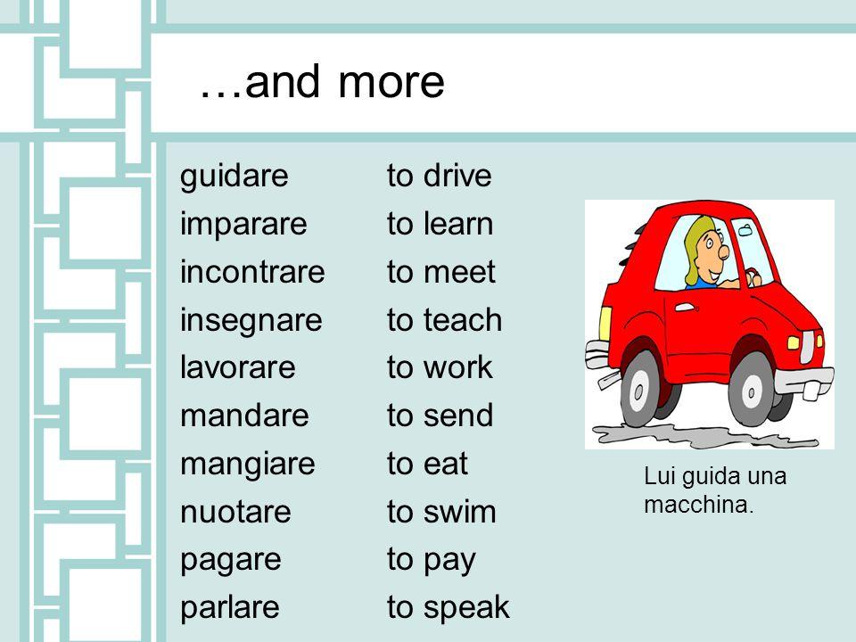 …and more guidare imparare incontrare insegnare lavorare mandare mangiare nuotare pagare parlare