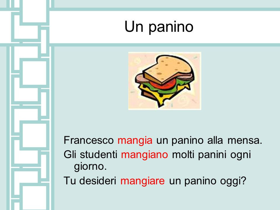 Un panino Francesco mangia un panino alla mensa.