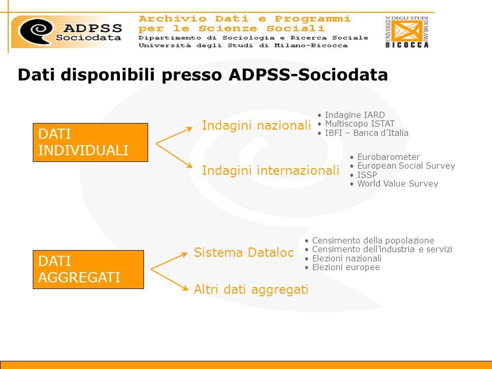 Dati disponibili presso ADPSS-Sociodata