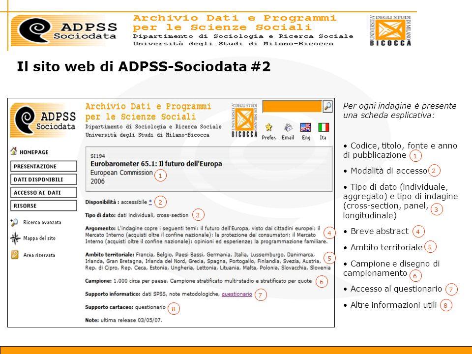Il sito web di ADPSS-Sociodata #2