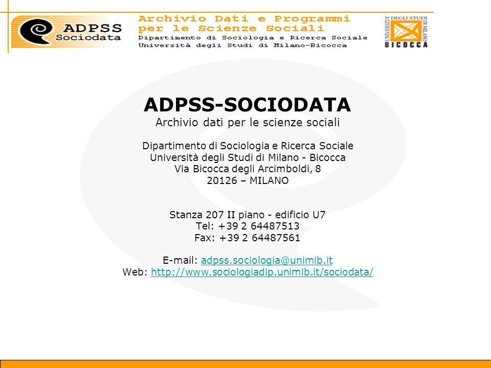 ADPSS-SOCIODATA Archivio dati per le scienze sociali