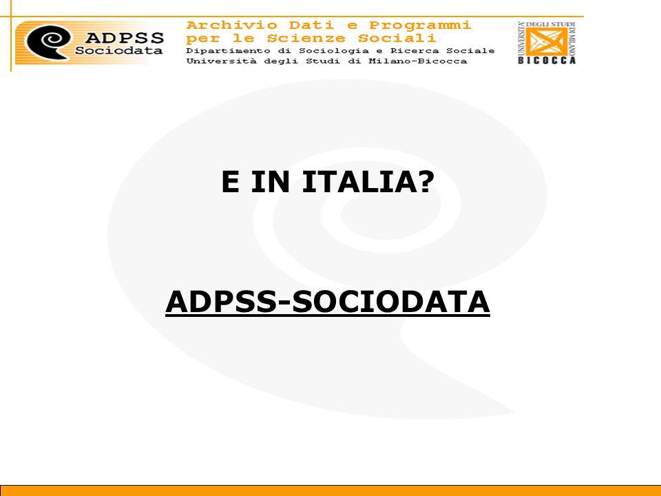E IN ITALIA ADPSS-SOCIODATA