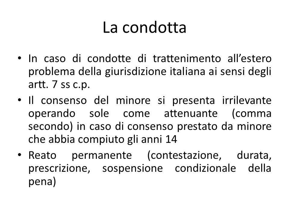 La condotta In caso di condotte di trattenimento all'estero problema della giurisdizione italiana ai sensi degli artt. 7 ss c.p.
