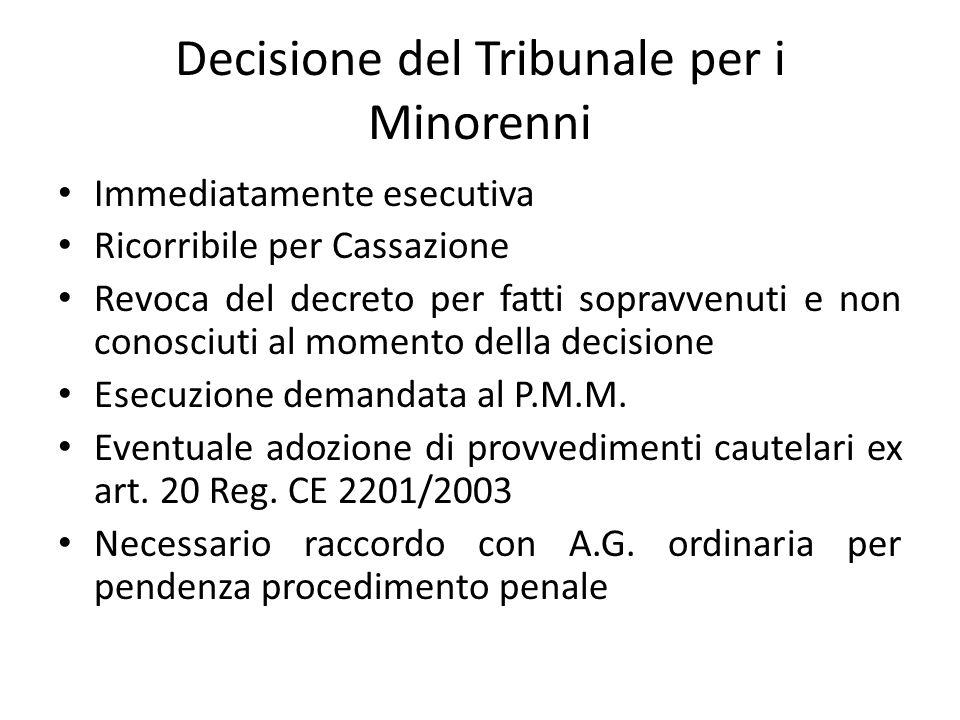 Decisione del Tribunale per i Minorenni