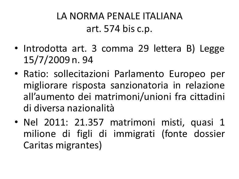 LA NORMA PENALE ITALIANA art. 574 bis c.p.