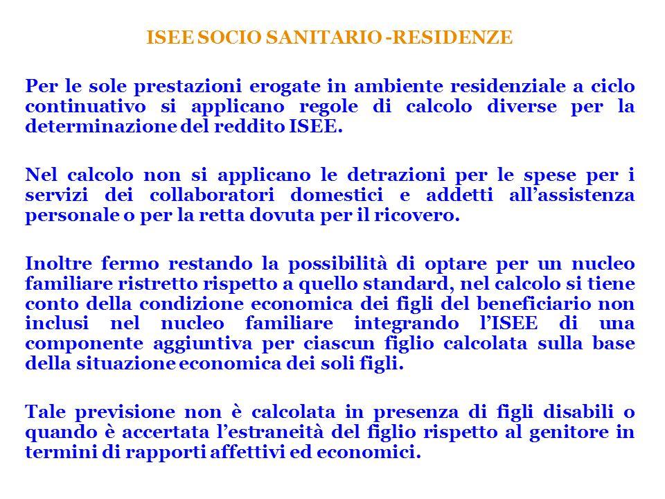 ISEE SOCIO SANITARIO -RESIDENZE