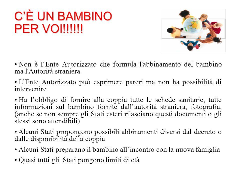 C'È UN BAMBINO PER VOI!!!!!! Non è l'Ente Autorizzato che formula l abbinamento del bambino ma l Autorità straniera.