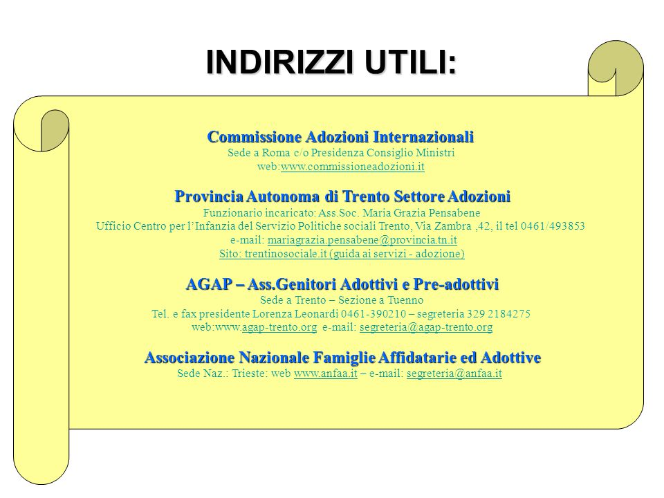 INDIRIZZI UTILI: Commissione Adozioni Internazionali