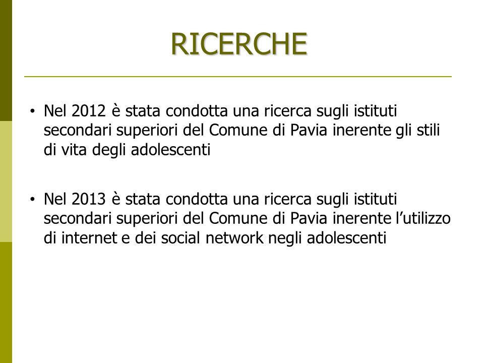 RICERCHE Nel 2012 è stata condotta una ricerca sugli istituti secondari superiori del Comune di Pavia inerente gli stili di vita degli adolescenti.