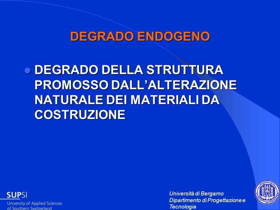 DEGRADO ENDOGENODEGRADO DELLA STRUTTURA PROMOSSO DALL'ALTERAZIONE NATURALE DEI MATERIALI DA COSTRUZIONE.