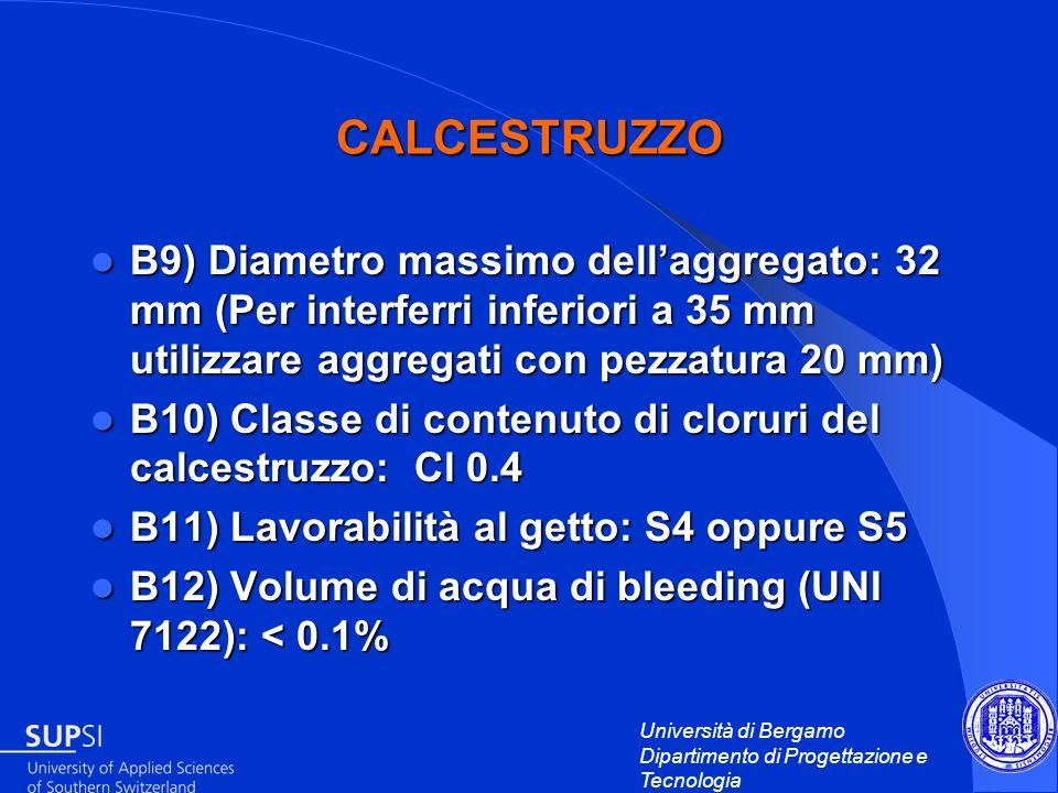 CALCESTRUZZO B9) Diametro massimo dell'aggregato: 32 mm (Per interferri inferiori a 35 mm utilizzare aggregati con pezzatura 20 mm)