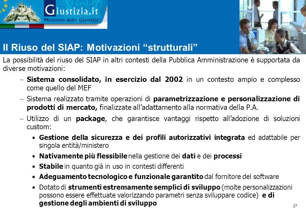 Il Riuso del SIAP: Motivazioni strutturali