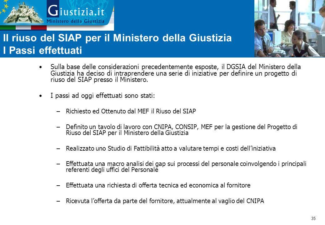Il riuso del SIAP per il Ministero della Giustizia I Passi effettuati