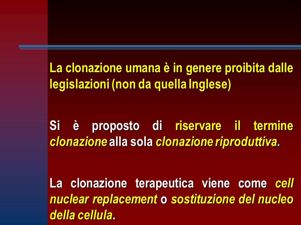 La clonazione umana è in genere proibita dalle legislazioni (non da quella Inglese)