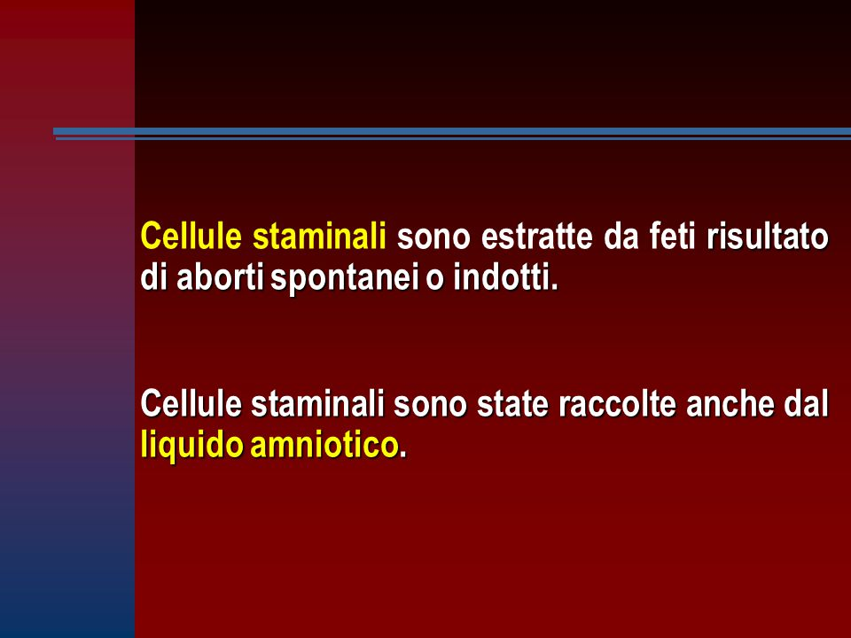 Cellule staminali sono estratte da feti risultato di aborti spontanei o indotti.