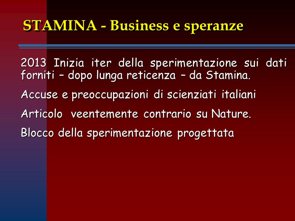 STAMINA - Business e speranze