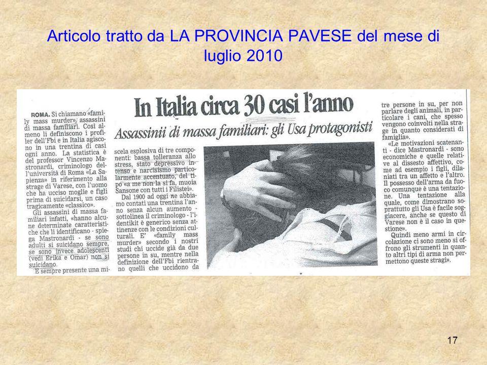 Articolo tratto da LA PROVINCIA PAVESE del mese di luglio 2010