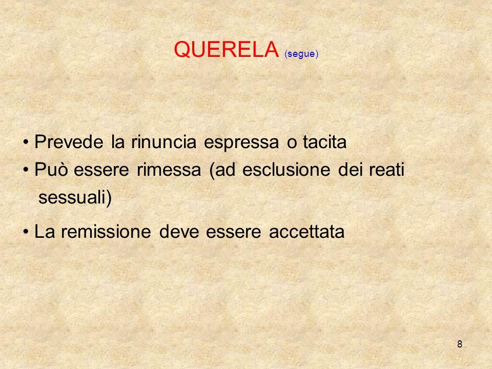 QUERELA (segue) Prevede la rinuncia espressa o tacita