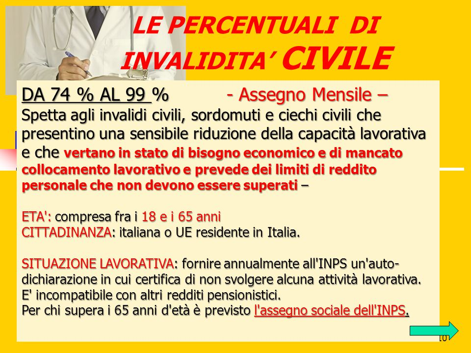 LE PERCENTUALI DI INVALIDITA' CIVILE