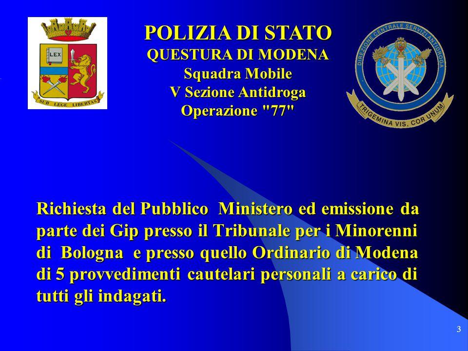 POLIZIA DI STATO QUESTURA DI MODENA. Squadra Mobile. V Sezione Antidroga. Operazione 77