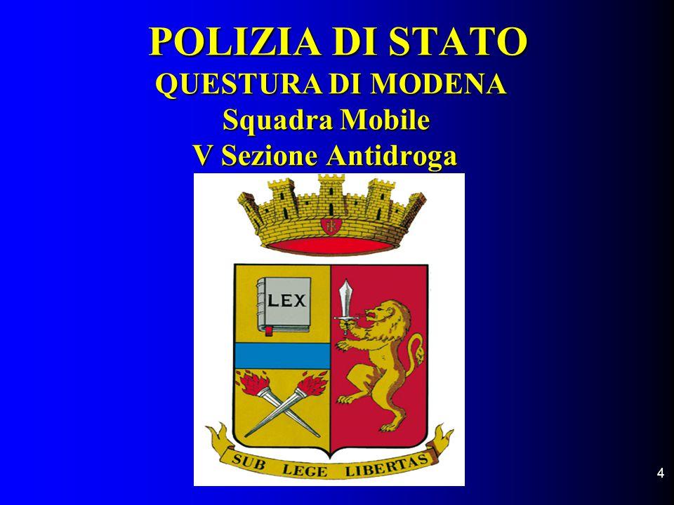 POLIZIA DI STATO QUESTURA DI MODENA Squadra Mobile V Sezione Antidroga