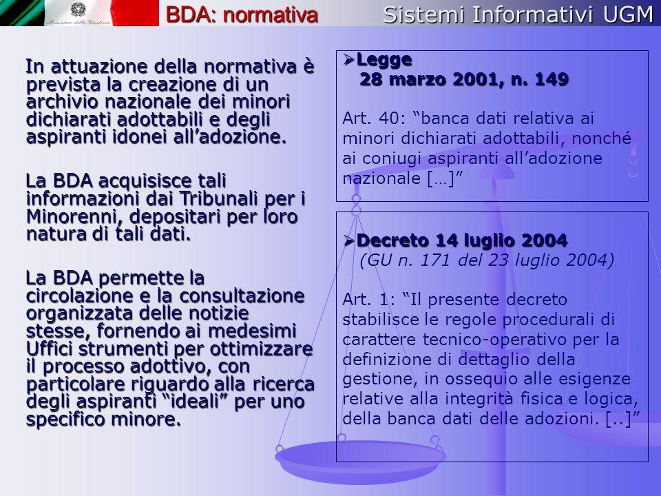 Sistemi Informativi UGM BDA: normativa
