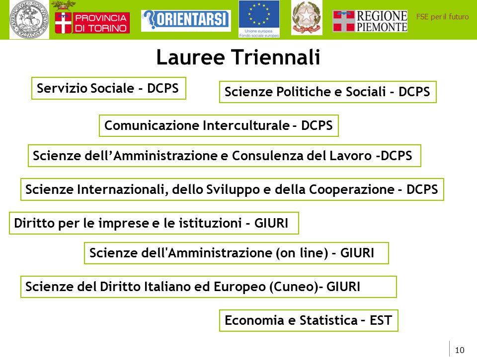 Lauree Triennali Servizio Sociale - DCPS
