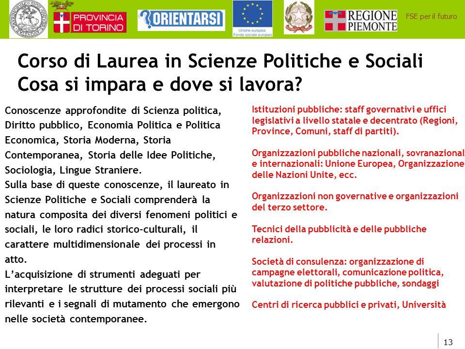 Corso di Laurea in Scienze Politiche e Sociali Cosa si impara e dove si lavora