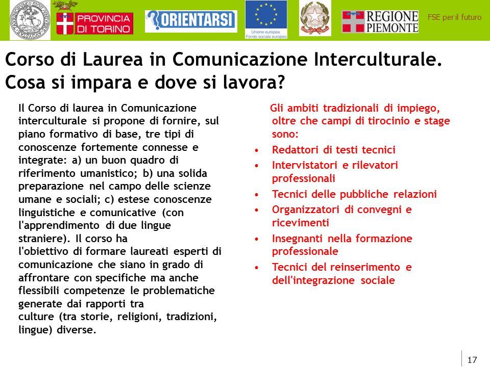 Corso di Laurea in Comunicazione Interculturale.