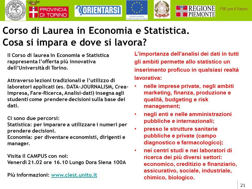 Corso di Laurea in Economia e Statistica.