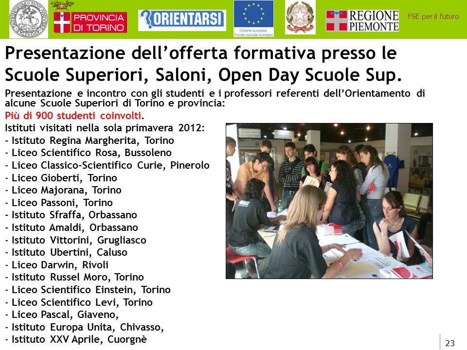 Presentazione dell'offerta formativa presso le Scuole Superiori, Saloni, Open Day Scuole Sup.