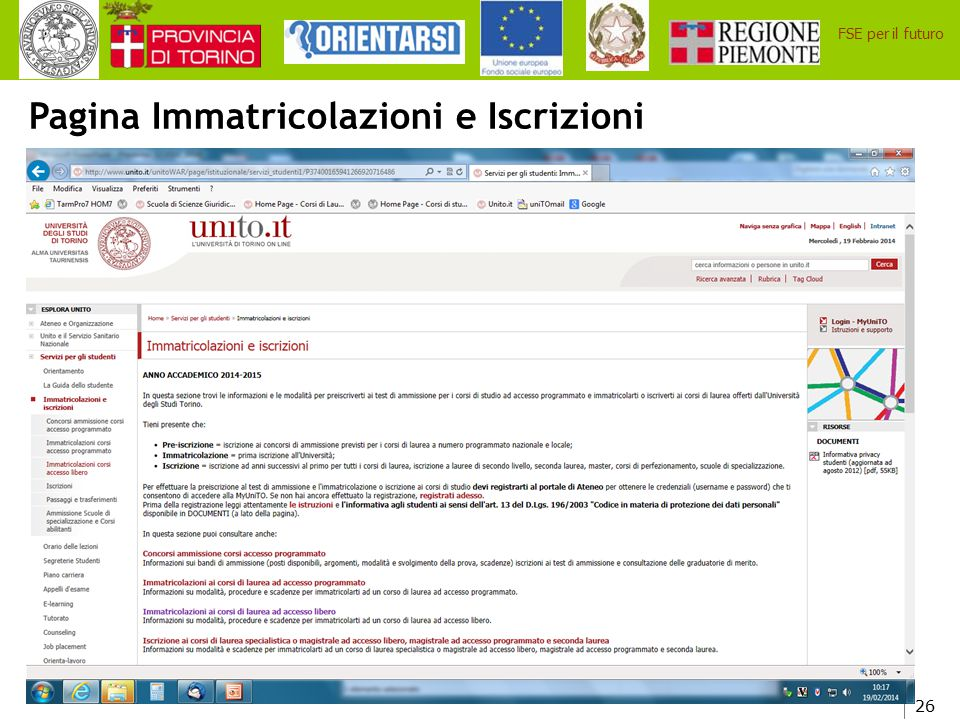 Pagina Immatricolazioni e Iscrizioni
