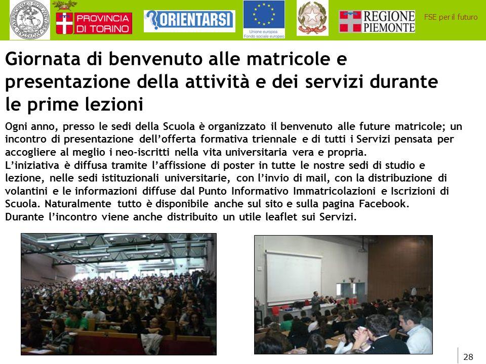 Giornata di benvenuto alle matricole e presentazione della attività e dei servizi durante le prime lezioni