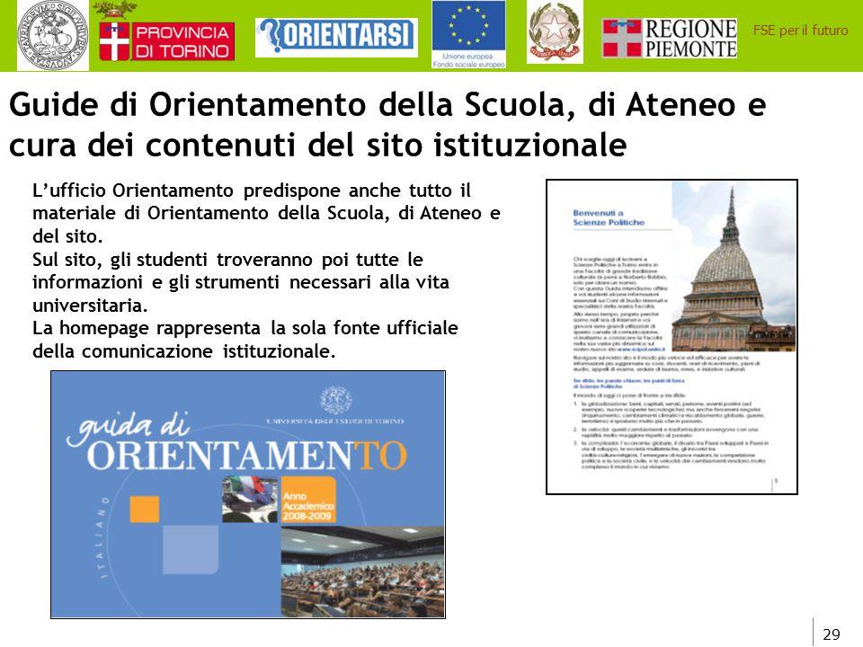 Guide di Orientamento della Scuola, di Ateneo e cura dei contenuti del sito istituzionale