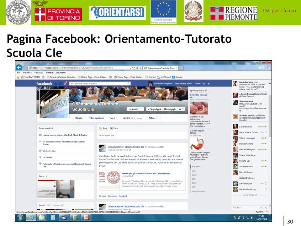 Pagina Facebook: Orientamento-Tutorato