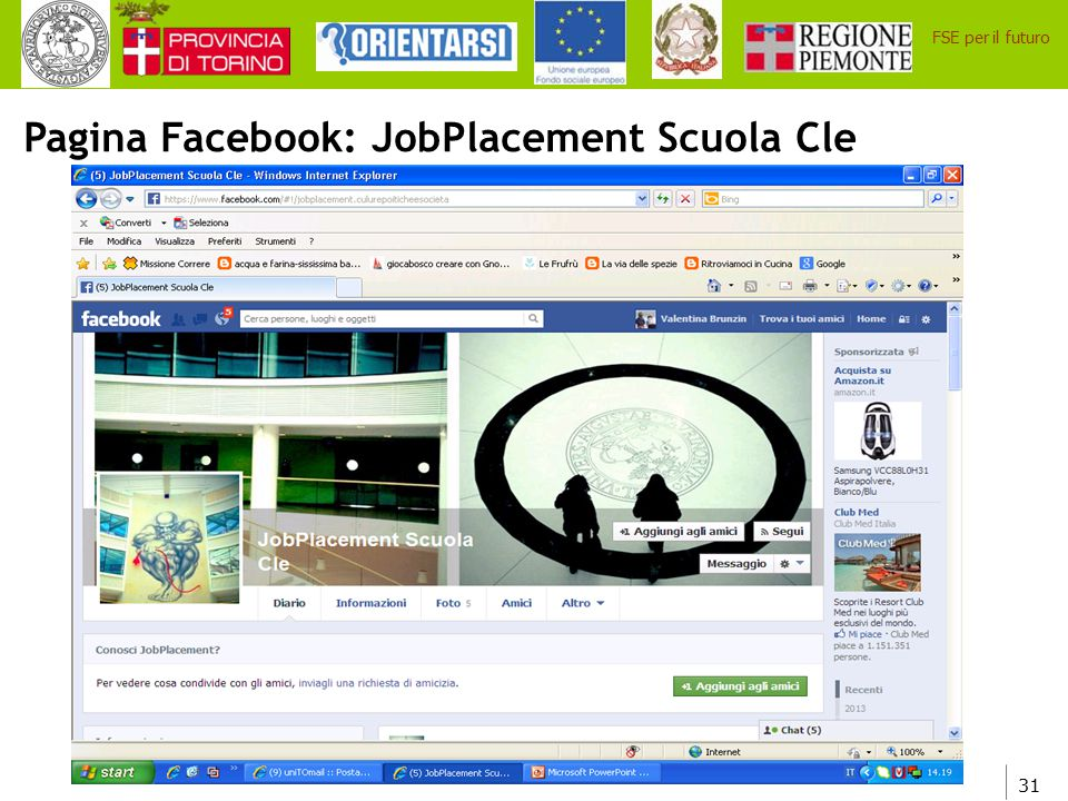 Pagina Facebook: JobPlacement Scuola Cle